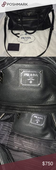 """Prada handbag Prada handbag in Nero. This comes with the Prada Product cats, adjustable strap and dust bag. Approximate measurements:: 15"""" in length, 10"""" deep and 6 """" wide.  If interested, please purchase or submit offer through the """"Offer"""" button. Prada Bags Crossbody Bags"""