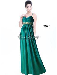 Ruffles Greens Flowers Spaghetti Straps Chiffon Evening Dress $74.99    www.ever-pretty.com    #bridesmaiddress #emeralddress