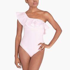 Seersucker ruffle one-shoulder one-piece swimsuit : FactoryWomen Swim & cover-ups Fun One Piece Swimsuit, Two Piece Swimsuits, Bahamas Outfit, Kids Outfits, Summer Outfits, Swim Cover Ups, One Shoulder Swimsuit, Discount Mens Clothing, Seersucker
