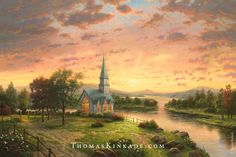 """As we get ready to begin Easter week, we reflect on the messages of hope and faith in Thomas Kinkade's """"Sunrise Chapel"""". #thomaskinkade #easter #art #spring 6/16/15"""