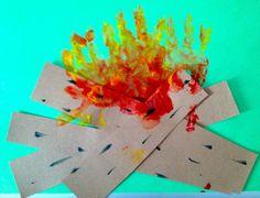 camping toddler crafts | Handprint Campfire: