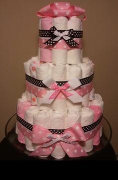 Diaper cake pink ribbon w grey ribbon