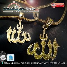 Yellow Faux Diamond Allah Pendant Necklace with Chain Arabic Jewelry, Gold Necklace, Pendant Necklace, Muslim Fashion, Allah, Islamic, Jewelry Collection, Chain, Yellow