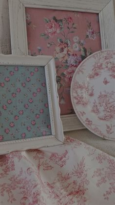 vintage fabric in vintage frames