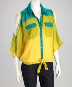 Take a look at this Yellow & Teal Cutout Button-Up Top by La Class on #zulily today!