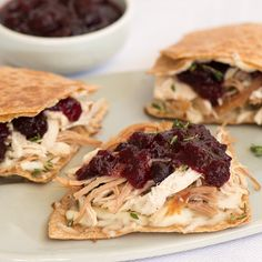 Authentic recipe for Turkey and Cranberry Quesadillas using traditional ingredients. Thanksgiving Recipes, Fall Recipes, Holiday Recipes, Great Recipes, Favorite Recipes, Thanksgiving Leftovers, Turkey Dishes, Turkey Recipes, Mexican Food Recipes