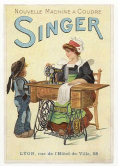 Vintage Singer sewing machine postcard