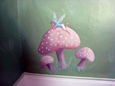 fairy mural   Love the mushrooms!
