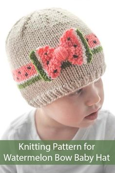 Knitting Pattern for Watermelon Bow Baby Hat – This cute pattern includes a pink, white and green strips and fun watermelon slice bow with cute embroidered watermelon seeds. Sizes: months, 6 months, 12 months and Designed by Cassie at Little Red Window. Kids Knitting Patterns, Baby Hat Knitting Pattern, Crochet Baby Hats, Knitting For Kids, Crochet Yarn, Knitting Projects, Knitted Hats, Kids Hats, Baby Bows