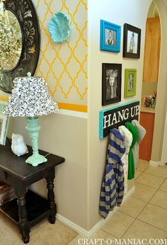 "DIY Jacket/ Backpack board ""Hang Up.""  #design #organize #gallery wall  Great if you have kisd that like to throw there jackets in random places!"