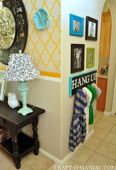 "DIY Jacket/ Backpack board ""Hang Up.""  #design #organize #gallery wall"