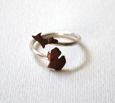 I WANT THIS>>>>>Michigan Upper and Lower Peninsula Twist State Ring (Sterling Silver & Copper Ring)
