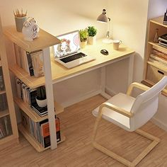 22 DIY Computer Desk Ideas that Make More Spirit Work - EnthusiastHome Ikea bookcase bookcase desk minimalist environment for children to learn a combination of simple desktop computer desk desk desk Mesa Home Office, Modern Home Office Desk, Home Office Furniture, Garden Furniture, Office Table, Office Spaces, Furniture Online, Cheap Furniture, Furniture Ideas