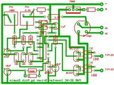 This is my schematic design of a Pulse Width Modulator DC/AC inverter using the chip . I have built this design and using it as a backup to power up all my house when outages occur. Electronic Circuit Projects, Electronic Kits, Electrical Projects, Electrical Engineering, Electronic Engineering, Hobby Electronics, Electronics Projects, Battery Charger Circuit, Power Supply Circuit
