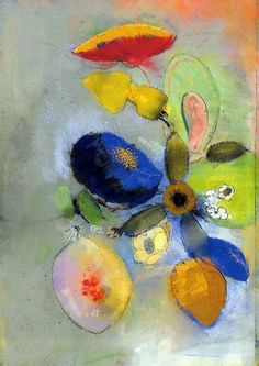 Flowers by Odile Redon, 1917. Primary Color