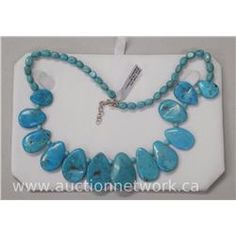Fancy Turquoise Necklace with Lobster Clasp.