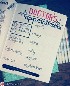 Use a cute spread to keep track of your doctor's appointments. Use a color key to distinguish each family member or the doctor you're seeing. Perfect for yearly checkups, pediatricians, dentists and specialists. You can even add a medication list or pertinent history to remember. #BUJO #bulletJournal #DoctorAppointments #MedicalHistory #FaberCastell #MildLiner #LMNOBenedict