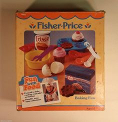 Vintage Boxed Fisher Price Fun with Food Baking Set Cupcake Cake Clean Fisher Price Toys, Vintage Fisher Price, Baking Cupcakes, Cupcake Cakes, Baking Set, Little Tikes, Vintage Box, Play Food, No Bake Cookies