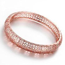 Dilanco 18K Rose Gold Plated Multi-Gemstone Hollow Bangle Bracelets for Women