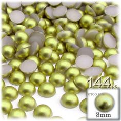 144-pc Pearl finish Half Dome Beads, Round, 8mm, Bright Phosphoric Green
