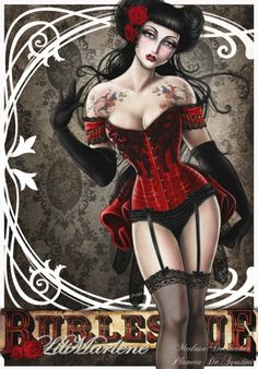 For her ''Cabaret'' book a work by Medusa The Dollmaker. Awesome Burlesque. Love it. Sexy and so Belle Époque.