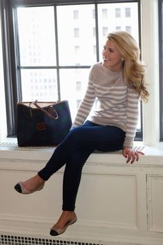 Classic! Fall business casual or class outfit with striped beige sweater and a gorgeous bag!