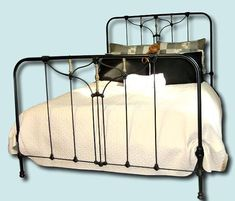 Antique Cast Iron Bed Frame Queen Size Round Shoulder Style Cast Iron Bed Frame, Cast Iron Beds, Large Beds, Queen Size Bedding, How To Make Bed, Queen Beds, Simple Designs, Mattress, It Cast