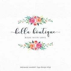 This gorgeous floral logo design is perfect for a florist or wedding planner! Monogram Logo, Branding Kit, Branding Design, Nail Logo, Bakery Logo Design, Blog Logo, Online Logo, Boutique Logo, Watercolor Logo