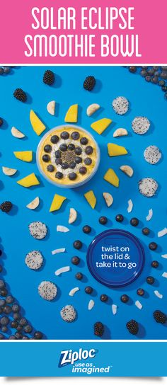 Try this smoothie bowl with an out-of-this-world twist! Ziploc® Twist 'n Loc® containers seal in the ingredients so you can take this fresh breakfast to go while you watch the solar eclipse. Fill container with a sunny blend of mango, banana, yogurt and orange juice or create your own recipe. Top with blueberries, chia seeds, dragon fruit and coconut flakes, twist on the lid and enjoy on the go. It's a great idea for a post- workout meal or a kid's lunch.