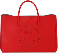 Anya Hindmarch Ebury Maxi Smiley Tote Bag, Bright Red