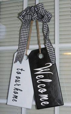 Welcome To Our Home Door Hanger / Tags / Wooden Door Tags / White Wooden Doors, Custom Wood Doors, Interior Panel Doors, Door Tags, Front Door Decor, Front Doors, Oak Doors, Front Porch, Wooden Tags