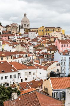 View of the pretty tiled rooftops of Lisbon, Portugal
