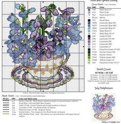 Цветы в чашках - схемы для вышивки крестиком. Обсуждение на LiveInternet - Российский Сервис Онлайн-Дневников