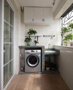 Laundry area Home balcony design effect figure 2014 2016 House Balcony Design, Condo Balcony, Apartment Balcony Decorating, Outdoor Laundry Rooms, Small Laundry Rooms, Laundry Area, Laundry Room Bathroom, Laundry Room Design, Hobby Design