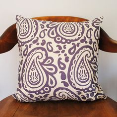 Block Printed Pillow Cover in Plum Paisley on Hemp by HomeSweet, $60.00