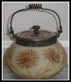 Rare Antique Signed Crown Milano Mt Washington Glass Biscuit Jar   eBay