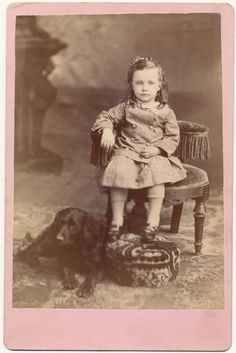 Victorian Little Girl and Spaniel Dog, Antique Photo, Pink Matte and Pretty Fashion