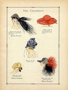 Georgette (Millinery) 1922 Evening Hats, Fashion Illustration, Pochoir