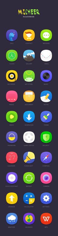 清爽手机主题micheer Best Ui Design, App Design, Icon Design, Flat Design, Game Icon, Icon Set, Mobile Icon, Mobile Game, Launcher Icon