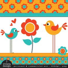 Digital Clip Art  Flower Birdies in Bright Retro by viveradesign, $5.00
