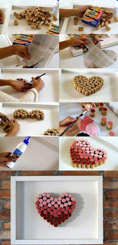 Cuore con tappi di sughero, tutorial con tappi di sughero, cornice con cuore