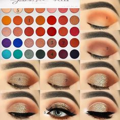 makeup tutorial for beginners with morphe x jaclyn hill palette Makeup Eye Looks, Eye Makeup Steps, Glam Makeup, Skin Makeup, Eyebrow Makeup, Makeup Morphe, Morphe Eyeshadow, Eyeshadows, Easy Eyeshadow