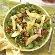Smoked Turkey and Apple Salad Recipe- Recipes  An eye-catching dish, this refreshing salad is a great main course for a summer lunch or light dinner. The dressing's Dijon flavor goes nicely with the turkey, and the apples add crunch.