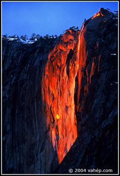 Horsetail Falls in Yosemite National Park. When the sunset hits this waterfall, it illuminates it to make it look like flowing lava, thanks to the perfect geographic positioning. God is an artist!
