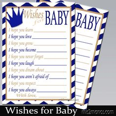 Prince Baby Shower, Digital Wishes for Baby Chevron Royal blue, Gold and White Instant Download