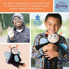 Bernie the Buddyfly is the new Cause Buddy from #scentsy For every Bernie purchased Scentsy will donate $8.00 to Autism Speaks #autism  https://crazywickedscents.scentsy.us/Buy/Search?query=bernie