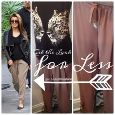 Create+your+celebrity+inspired+look+with+our+latest+arrivals!+Mocha+trousers+are+so+versatile,+grab+yours+for+a+casual+chic+or+work+attire+look.  100%+polyester+  www.KuteAndKouture.Storenvy.com Facebook.com/kutekouturekollections