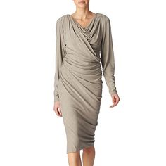 Understated and elegant, Donna Karan's light–gray stretch–jersey dress will make a fabulous addition to your capsule wardrobe.