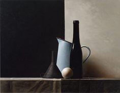 Volkert Olij, Blue jar oil on wood 81 x 105 cm