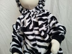 Baby Size 9-12 Months Black and White Zebra Costume